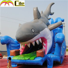 CILE Newly Design Large Shark Inflatable Screamer Waterslide For Entertainment