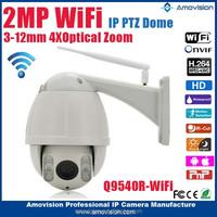 2015New Amovision wifi H.264 onvif 1080P CMOS IR 30m 4X Zoom 2.8-12mm high speed dome outdoor cctv wifi camera