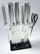 8pcs high quality stainless steel knife with acrylic square knife block