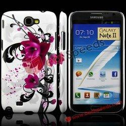 Coquettish Big Purple Flower Diamond Inlaid Glitter Hard Case for Samsung Galaxy Note II N7100