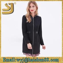 Fashion seamless women's thin fleece rib warm wool jacket