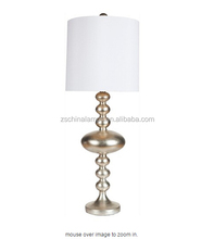 hot sell antique simple table lamp with gold bead decor and white cylinder lampshade