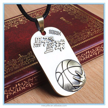 MECY LIFE stainless steel basketball dog tag necklace ball pendant