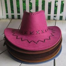 Fashion Wholesale Western Purple Cowboy Hat With Cross Stitching