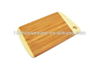Vegetable & fruit bamboo cutting board with two tone and handle hole