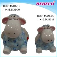 Ceramic sheep piggy money coin bank with lock