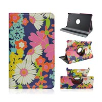Colorful Flowers Design Flip Stand Rotate Leather Case Covers For Samsung Galaxy Tab S 8.4inch T700/T705