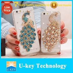 3D Animal Bling Bling Diamond Peacock PC hard Cover Case for iphone 5/6/6 plus
