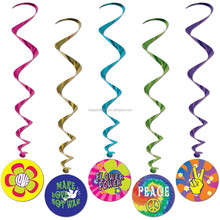LOVE PEACE themed Foil Hanging Swirl Decorations Birthday Party Supplies