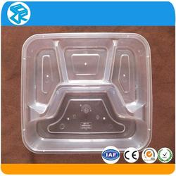 disposable plastic take away 3-compartment eco friendly bento box containers