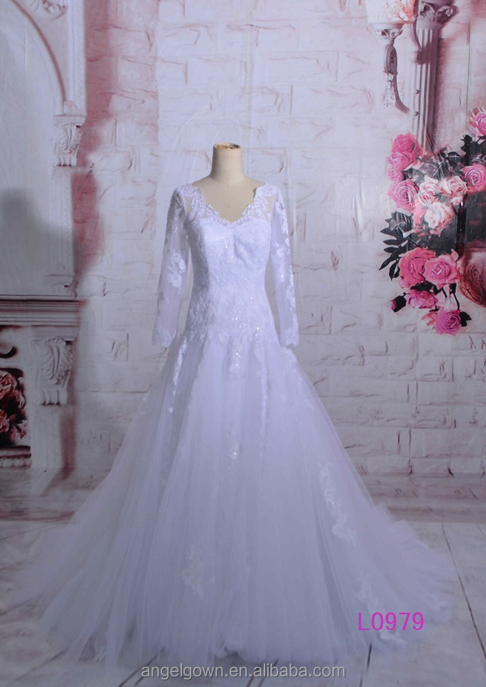Muslim Long Sleeves White Tulle French Lace Beaded A Line Wedding Dresses 2015 Guangzhou Arabic