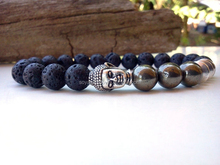 Lava and Pyrite Buddha bracelet Mens bracelet Good Luck Strenght bracelet