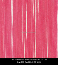 china cheap red colored 0.5mm 1mm thickness artificial commercial engineered padouk wood face veneer for decorative furniture