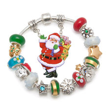 christmas jewellery, European style silver plated charm beaded bracelets christmas jewellery