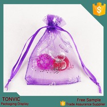7*9 custom made small printed heart organza drawstring bag gift pouch 100pieces one bag