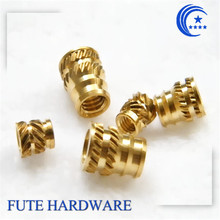 CNC Precision Threaded Brass Knurled Hot Melt Plastic Molding Inserts Nut