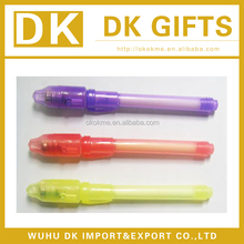 Promotional invisible ink pen with uv light