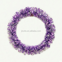 New Fashionable & Colorful Metallic PET Christmas Tinsel Wreaths