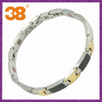 Free Shipping Wholesale Anti-static Energy Mens Stainless Steel and Carbon Fiber 5 in 1 Magnetic Bracelet Silver Gold Color