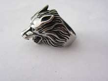 2015 silver wolf head stainless steel men's ring