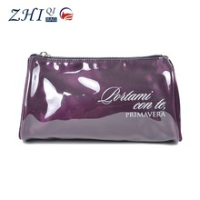 Latest ZQ-B-078 Dongguan PVC factory manufacture BSCI promotional purple deluxe cosmetic makeup case