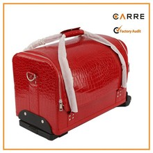 wheeled rolling trolley PU leather cosmetic bag case