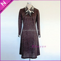2015 chocolate brown work office lady autumn dress