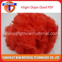 2015 hot sale virgin grade red color 1.5D*38mm dope dyed polyester staple fiber, dope dyed polyester staple fiber