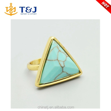 Hot Sale Women Fashion Jewelry Gold Turquoise Stone Triangle Ring
