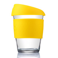 2015 High Quality Borosilicate Glass Coffee Cup with Non-slip Silicone, Food-grade Drinking Glasses, Handy Glass Tea Cup