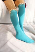 Nuevo diseño mujeres del estilo de corea de punto sexy de encaje de arranque calcetines y del cordón de calentadores de la pierna de venta al por mayor