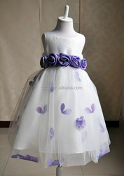 2015 most popular casual spring wedding dresses/decorative handmade flowers for dresses/ violet girls ball gown party dress
