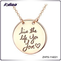 """Free Shipping Fashion """"live the life you love"""" Gold Round Pendant Necklace Wholesale"""
