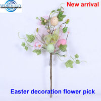 Easter eggs decorated artificial decorative floral pick for easter decoration