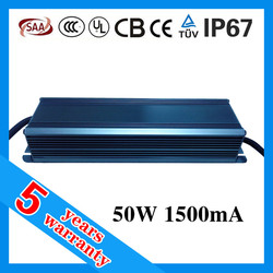 5 years warranty 1.5A 50W waterproof electronic LED driver