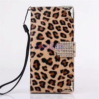PU Leather Leopard Print Flip Stand Wallet Case Cover with Crystal Magnet Buckle for iPhone 6 Plus 5.5 inch