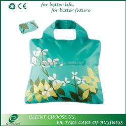 New nice flower foldable shopping bag alibaba supplier custom polyester bag