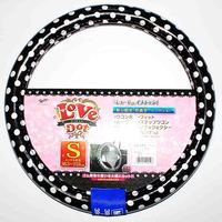 Car steering wheel cover Handle cover Black and white Dot Polyester fabric white T.P.E tube S&M size Japan