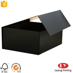 customized square matte black flat folding magnetic gift box