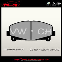 China hot sale auto disc brake pad manufacturer 45022-TL0-G50