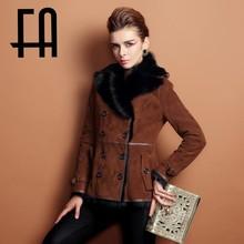 Fa 2015cara de doble capa de piel de/chaqueta de cuero de patrón natural de piel de invierno abrigo para las mujeres de moda