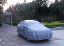 wind sand hail proof anti theft car cover grey color with reflective band