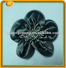 fancy handmade satin fabric ruffled ribbon rose decorate brooch corsage shoe flower garment accessory stretch lace trim
