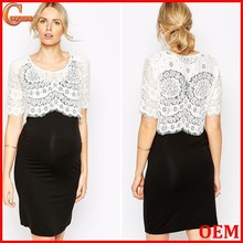 Fashion lace overlay bodycon fit maternity dress wholesale maternity clothes