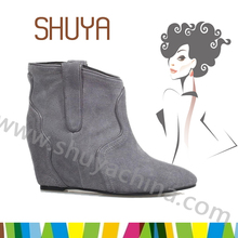 New design high quality ankle handmade woman wedge boots