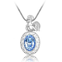Chinese Stlye Rooster of Chinese Zodiac Swarovski Element Chain Necklace