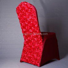2015 new style cheap price lycra chair cover with satin rose flower decorative for wedding party use banquet chair size