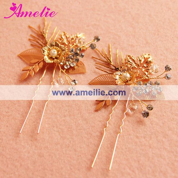 A15007 Rose Gold Plated Coroa De Novia Bride Crown and Hairpins (2).jpg