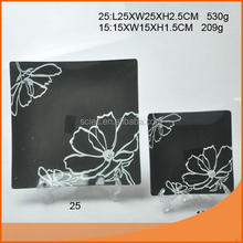 Hot good square shape glass plate with nice color and design with fast delivery