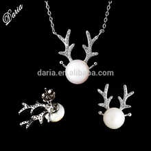 Christmas ornaments! 925 sterling silver deer horns pearl necklace and earrings jewelry for christmas gift 2015